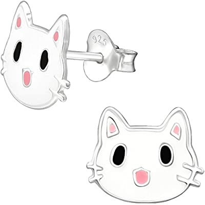 Jayare Kitten Kids Stud Earrings 925 Sterling Silver 8 x 10 mm White and Pink Cat Girls Earrings Set Jewellery