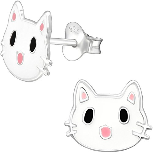 JAYARE Kätzchen Ohrstecker für Kinder 925 Sterling Silber 8 x 10 mm weiß rosa-pink Katze Mädchen-Ohrringe Kinderschmuck -