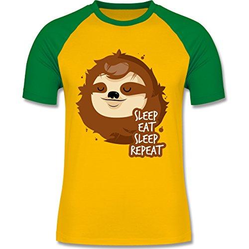 Comic Shirts - Sleep, eat, sleep, repeat - Faultier - zweifarbiges Baseballshirt für Männer Gelb/Grün