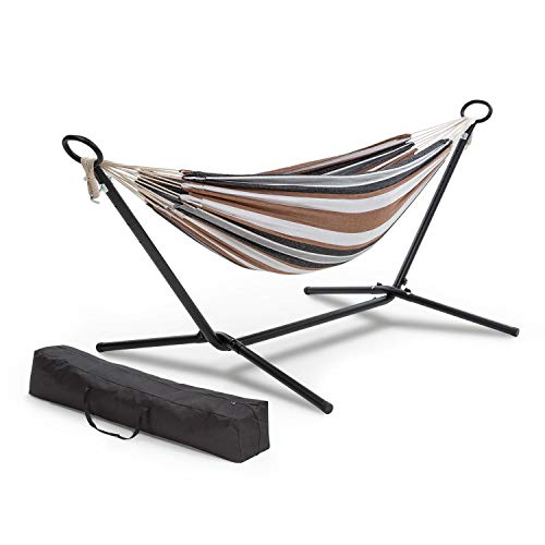 blumfeldt Sri Lanka Swing Hängematte (Stahlrahmen mit Pulverbeschichtung, Stoff aus 65% Baumwolle und 35% Polyester, Stylish Comfort, 160kg max. Belastbarkeit, 200x150 cm, Tragetasche) gestreift