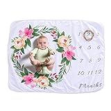 YeahiBaby Babydecke Fotohintergrund Decke Baby Monatliche Decke Neugeborene Geschenk Meilensteindecke - Girlande Muster