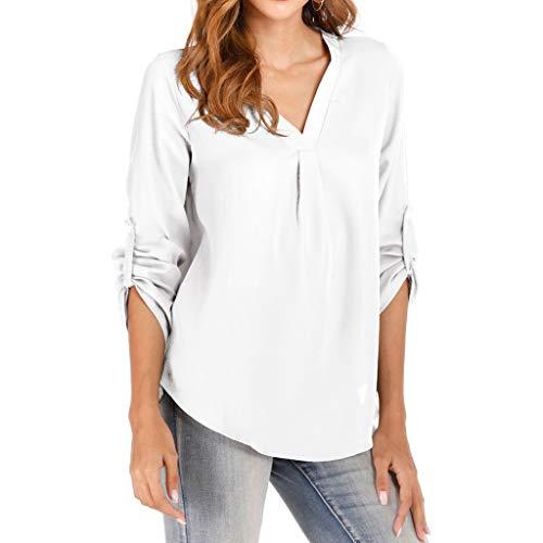 kolila Damen Einfach Einfarbig Taste 3/4 Ärmel Shirt Bluse Tops Langarm Frauen Casual Büroarbeit V-Ausschnitt Hemden T-Shirt