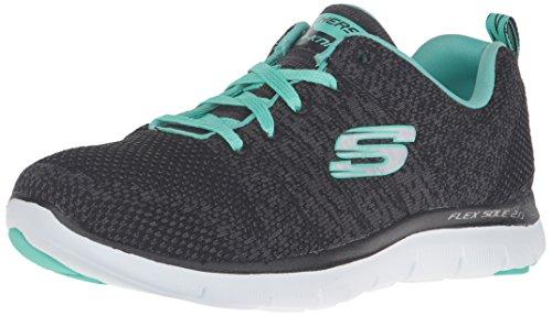 Skechers Damen Flex Appeal 2.0-High Energy Turnschuhe, schwarz (BKAQ), 39 EU (Skechers Reißverschluss Schuhe)