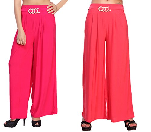 Comix Cotton Lycra Fabric Solid Women Palazzo Combo Set of 2(AGSPL-3152-IYE-PZ-10-CMB2-VE26-L)