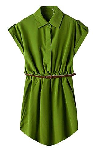 Mesdames Robes Chemise Courte Manche Courte Cintrée Chic Vintage Robes D'Été Robes Casual Armée verte