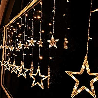 Itmunbai 12 Stars 138 LED with 8 Flashing Modes Curtain String Lights Decoration (Warm White) at amazon