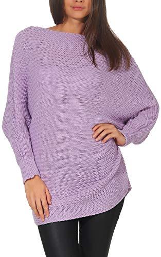 Malito Damen Pullover im Oversize Look   Grobstrick Longsleeve   Oberteil mit Rundhalsausschnitt   Strickpullover - 7325 (Flieder)