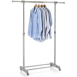 IDIMEX Portant Simple à vêtements Sala penderie sur roulettes vestiaire Mobile avec 1 Barre Extensible et Hauteur réglable, en métal chromé et Plastique Gris