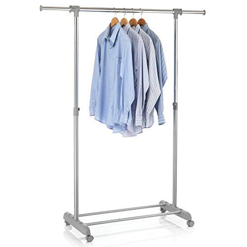 CARO-Möbel Rollgarderobe SALA Garderobenwagen Kleiderständer Garderobenständer Kleiderwagen grau höhenverstellbar und ausziehbar - Kleiderständer