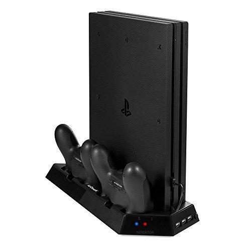 PS4 PRO Standfuß mit Dual Ladestationen und Kühler-Fans, ieGeek Vertical Stand Lüfter für PS4 Pro Playstation Controller PS4 Kühlventilator mit USB-HUB Ports