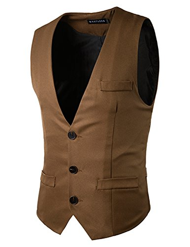 Boom Fashion Gilet Veston Veste Costume Sans Manches Slim Fit Homme mode Marron Four
