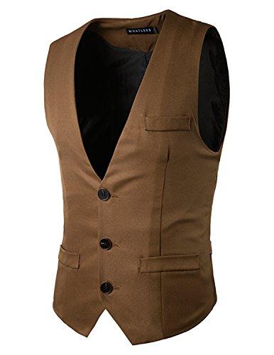 YCHENG Herren Anzugweste Freizeit Business Casual Weste Einfarbig, Farbe Braun,  Size L