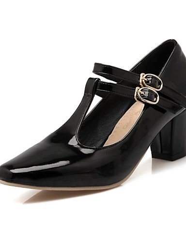 WSS 2016 chaussures en cuir verni talons printemps / été / automne talons mariage / casual chunky talon buckleblue / rose des femmes red-us5 / eu35 / uk3 / cn34