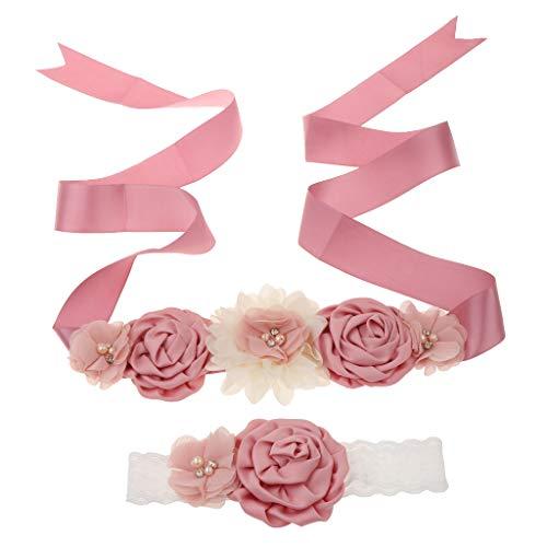 PETSOLA 2pcs Hochzeit Braut Brautjungfer Blumenmädchen Mutterschaft Schärpe Gürtel Stirnband Set - Dunkelrosa 1 -
