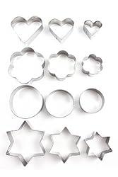 Home Value 12pc Metal Cookie Cutters: 3 Stars Shape, 3 Flowers Shape, 3 Round Shape, 3 Hearts Shape