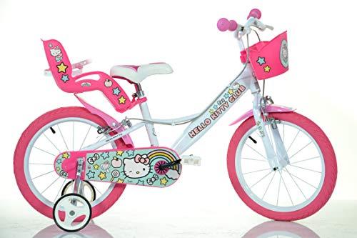 Dino Bigioni Hello Kitty Kinderfahrrad Mädchenfahrrad - 16 Zoll | Original Lizenz | Kinderrad mit Stützrädern, Puppensitz und Fahrradkorb - Das Hello Kitty Fahrrad als Geschenk für Mädchen