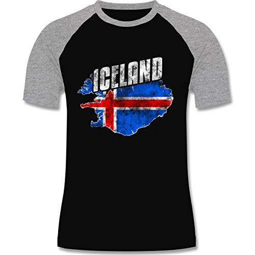 EM 2016 - Frankreich - Iceland Umriss Vintage - zweifarbiges Baseballshirt für Männer Schwarz/Grau Meliert