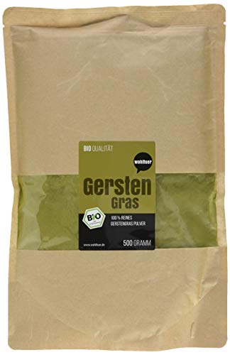 Wohltuer Bio Gerstengraspulver/Gemahlenes Gerstengras in Rohkostqualität aus Bayern (DE-ÖKO-006), 500 g -