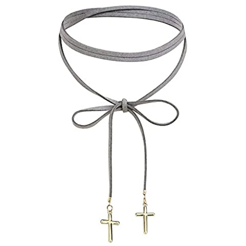 AMDXD Jewelry Stainless Steel Women Choker Necklaces Gold Grey Double Cross Circle Velvet Rope 140X1.4CM