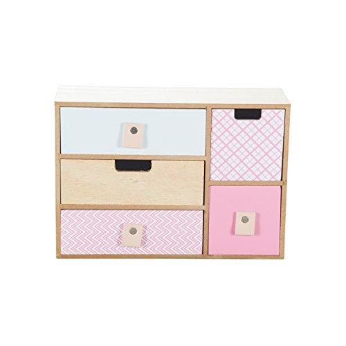 Fünf Schubladen Schrank (Mini Kommode Kommode Schränkchen Holz Shabby Chic 5 Schubladen Schrank Bunt Modell 2)