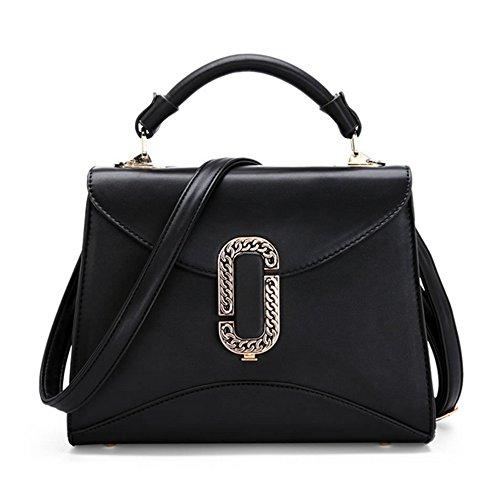 Xinmaoyuan Borse donna pu colore semplice sezione trasversale semplice fibbia piccola borsa tracolla messenger bag Mini Bag,rosso Nero
