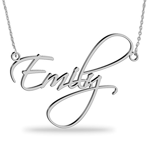 JOELLE JEWELRY 925er Silber Namenskette Personalisierte Namen Halskette mit Ihrem eigenen Wunschnamen (Silber, 40) (Personalisierter Name Halskette)