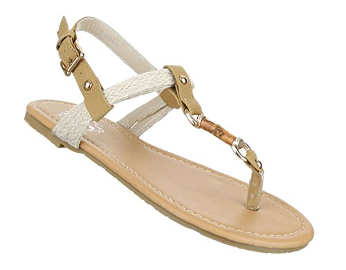 Damen Sandalen Schuhe Sommerschuhe Strandschuhe Zehentrenner Schwarz Weiß Beige Türkis 36 37 38 39 40 41 Beige