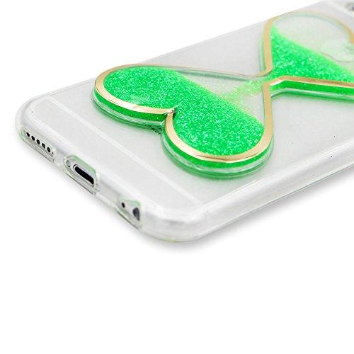 """SKYXD Coque Pour Iphone 7 4.7"""" 3D Motif Bling Glitter Fluide Liquide Sparkles Sables Mouvants Paillettes Flowing Brillante Étui Strass Ultra Mince Transparente Crystal Clair Souple TPU Silicone Bumper Vert"""