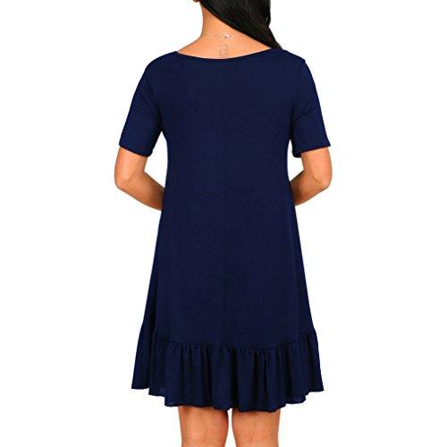 Angerella Donne Girocollo Loose Swing Tunic Vestito Manica Corta Draped T-Shirt Vestito Navy