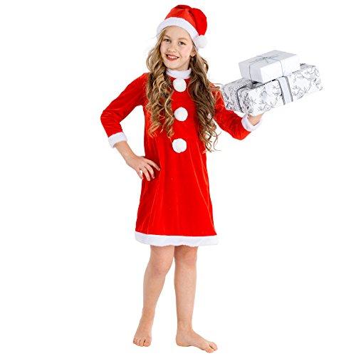 Kinderkostüm Weihnachtsfrau | Weihnachts Kostüm für Mädchen | inkl. weihnachtlicher Zipfelmütze (8-10 Jahre | Nr. (Billig Kostüme Zwerg)