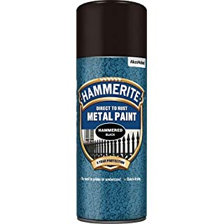 Hammerite 5084781 Metal Paint: Hammered Black 400ml (Aerosol)