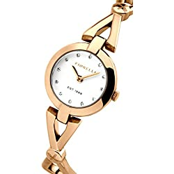 Fiorelli Women's Quartz Watch with White Dial Analogue Display and Rose Gold Plated Bracelet FO003RGM