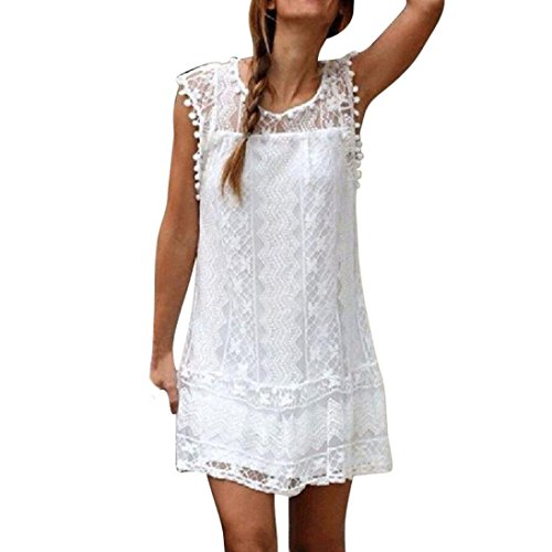 Kostüm Bleistift Nummer 2 - feiXIANG Frauen locker Spitze Kleider Strand Hemdkleid Damen kurzen Kleid Tassel Mini - Kleid Sommer Ärmelloses rockkleid O-Ausschnitt Shirtkleid (3XL, Weiß)