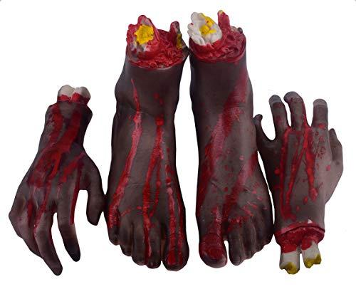 Halloween abgetrennte Hände Füße Set Scary Blutige gebrochene Körperteile Halloween Requisiten Dekorationen, 1 Paar 4-teilig (links und rechts) (Füße und Hände) (grün) (B)