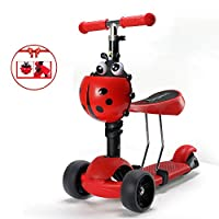 Aocean Scooter 4-in-1,Kids Toddlers Adjustable 3 Wheels Kick Scooter with Removable & Adjustable Seat,LED Light up Wheels for Boys Girls Age 2-6,Support 110Lbs, red