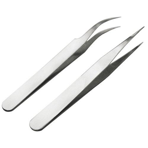 TOOGOO(R) 2 x Edelstahl-Nagel-Kunst-Werkzeug Pinzette Strasssteine Wimpern Acrylgel Picking