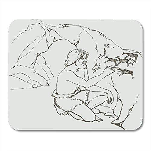 HOTNING Gaming Mauspads Gaming Mouse Pad Outline Primitive Old Man in Loincloth of Furry Animal 11.8