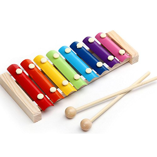 Qinlee Kinder Musikinstrument Spielzeug aus Holz Bunt Hand Knock Xylophon Baby Tamburin Früherziehung Puzzle Musik 8*8*16CM Zufällige Farbe