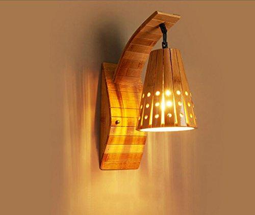 GKJ Rétro lampe de mur en bois d'art, barre de salon créative Café Restaurant de salle de bains Chambre de lampe de chambre à coucher Lampe de couloir Lampe de mur de décoration Couloir simple tête E27, 28 * 48cm ( taille : 28*48CM )