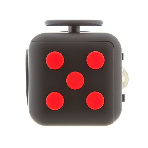Kayos Anti Stress Fidget Cube, Reduces Stress and Anxiety for Children and Adults, Ideal for ADHD, ADD, OCD and Autism (Black-Red)