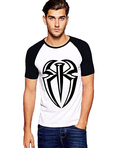 Fanideaz Roman Reign Plain WWE Round Neck Raglon Tshirts for Men_Black_3XL