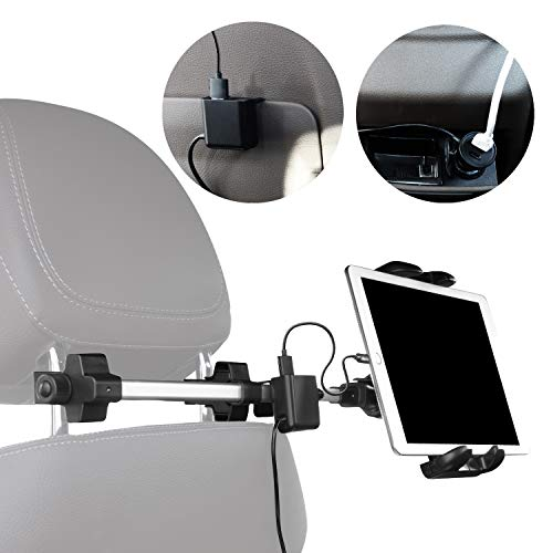 Macally Kfz-Kopfstützenhalterung mit USB-Hub, Lade- und Zigarettenanzünder-Netzadapter für Vorder- und Rücksitz, universell passend für alle iPad, Tablets, Nintendo Switch, iPhone, Samsung etc.