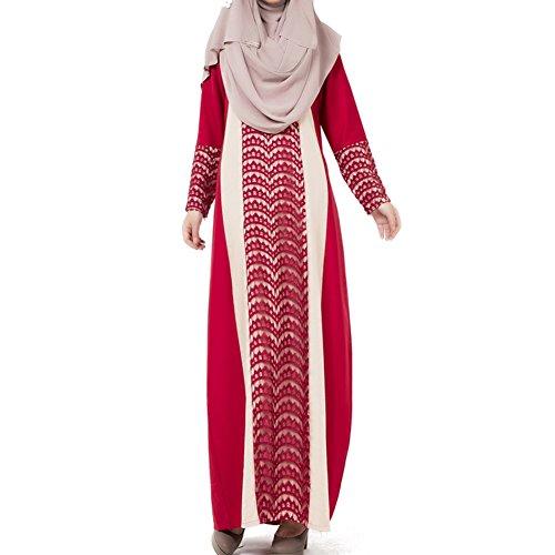 Highdas Frauen in der arabischen / Mittlerer Osten Nation Gewand ausgestattet Spitzen Nähen Kleid muslimischen Mode dubai Spitze Kaftan Rot