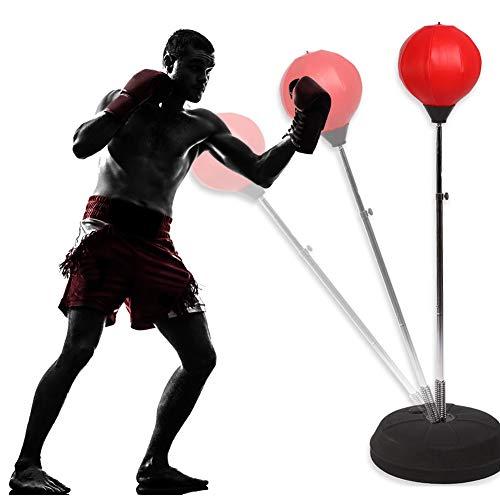 GOTOTOP Punching Ball Sacco da Boxe con Guantoni da BoxePedana Punching Stand Fitness Punzonatura Palla per Adulti AdolescentiAltezza Regolabile 125