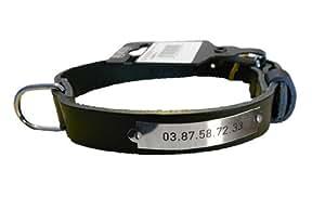 Machu - Plaque gravée RIVETEE sur collier chien cuir véritable NOIR, 3 cm x 55 cm (GRAND CHIEN) Tour de cou 41 à 48 cms . Votre chien ne perdra plus sa médaille !.