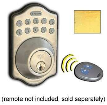 Lockey USA E910BB Electronic Keypad Single Cylinder Deadbolt, Remote Control Capable, Bright Brass by Lockey