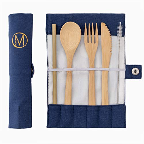 Bambus Besteck Set mit Tasche | nachhaltig und unbehandelt | Messer, Gabel, Löffel, Strohhalm wiederverwendbar | umweltfreundliches outdoor Reisebesteck | natürliches Holzbesteck für Unterwegs