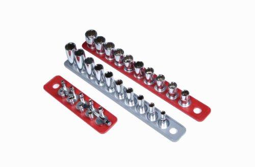 Triton Produkte 72495MagClip magnetischen Sockel Halter Streifen Sortiment 1/10,2cm Drive 22,9cm rot kleine Stecknuss, 1/5,1cm 16–5/20,3cm rot, 3/20,3cm 15–5/20,3cm grau 3