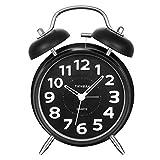 SOCICO Nicht Tickender Nacht Wecker, Klassischer Metall Twin Glocken Analogwecker mit Lautem Alarm Nachtlicht
