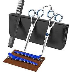 Luxebell Ciseaux de Coiffure Cisailles de coiffeur Set en Acier Inoxydable avec Peigne Clip et Housse pour Hommes et Femmes